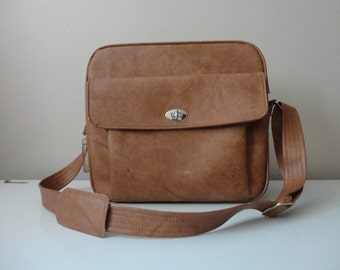 VINTAGE oak BROWN samsonite messenger luggage BAG