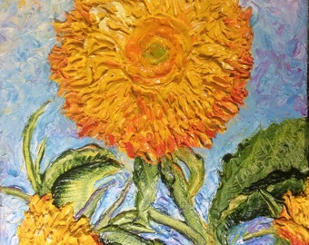Sunflowers Teddy Bear 8x10 Original Impasto Oil Painting by Paris Wyatt Llanso