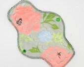 "10"" Heavy Cloth Pad, Reusable Cloth Menstrual Pad Made With Roses Minky, WINDPRO fleece, Short Overnight Pad by MotherMoonPads"