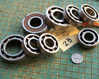 Ball Bearings, recycle, industrial art, 8 Single Row Ball Bearings, various sizes, found art metal sculpture, used motorcycle parts, 2B