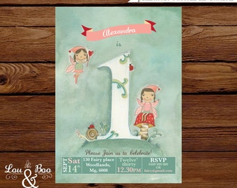 Woodland fairy first birthday printable party invitation - original illustrated woodland fairy invite number one