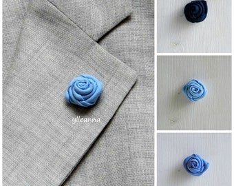 Flower lapel pin - Men's lapel flower - Men buttonhole - Men boutonniere - Blue hues - Made in Italy