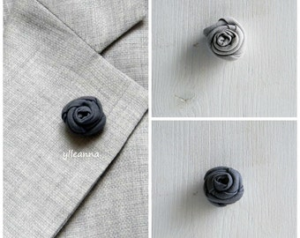 Flower lapel pin - Men's lapel flower - Men buttonhole - Men boutonniere - Grey hues - Made in Italy