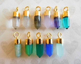 Gemstone Spike Points Needle Pendant Charm, 13-15x5 mm, Sterling Silver or 24k Gold Vermeil, gcp20 gc ll