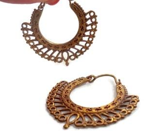Boho Earrings, India Brass, Big Statement, Vintage Pierced, Large Hoops, Bohemian, Ethnic Tribal, Long, Festival Jewelry, Filagree