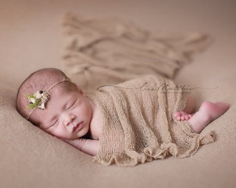 RTS Newborn Photo Props Knit Stretch Wraps, Brown, Newborn Baby Photo Prop, Swaddling, Newborn Photography Prop, HaZelNuT Nubble, Boy Props