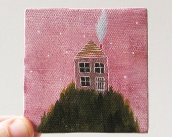 goodnight house / small painting on canvas