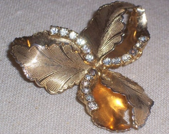 Vintage Goldtone Rhinestone Brooch