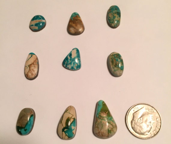Natural royston ribbon turquoise cabochons for Royston ribbon turquoise jewelry