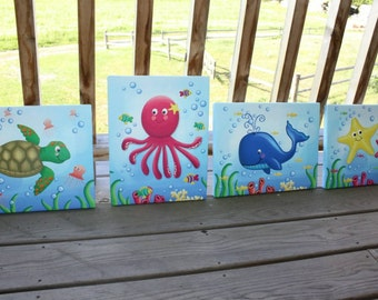 Set of 4 Girly Ocean Animals Kids Bedroom Stretched Canvases Kids Playroom Baby Nursery CANVAS Bedroom Wall Art 4CS032