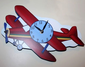 Airplane Wooden WALL CLOCK Girls Bedroom Baby Nursery Art Decor WC0053