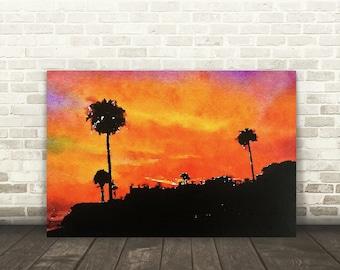 "Sunset Print - Canvas Art Print - Sunset Photo - Palm Trees - Sunset Art - Sunset Canvas - Sunset Photography - Photo on Canvas 8""x12"""