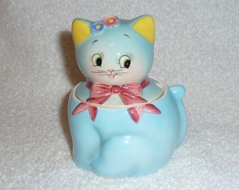 Vintage Anthropomorphic PY Norcrest Blue Cat Jam Jar Sugar Retro Kitchen Napco 1950s