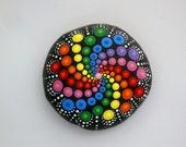 Bohemian dot art-rainbow swirl-lg mandala stone-painted rock-summer finds-neon polka dot art-unique ooak 3D art object-Zen chakra yoga art
