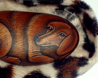 Brown dachsund dog-painted rocks-miniature pet portrait-ooak art painting-pet memorial-dachsund-American Girl doll house-pet dog-gift ideas