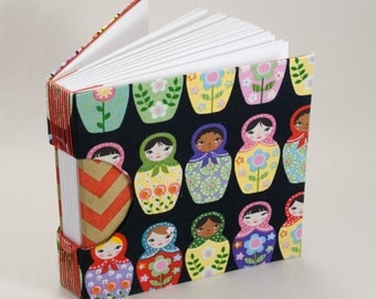 Blank Journal, Notebook, Guestbook or Sketchbook with Matryoshka Dolls