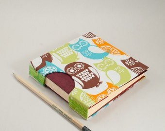 Square Journal, Guestbook, Notebook or Sketchbook with an Owl Fabric Cover