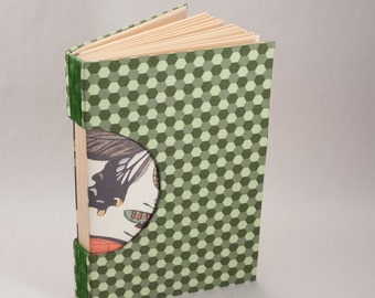 Hand-Bound Journal, Notebook, Sketchbook or Guestbook with a Honeycomb Green Fabric Cover and Butterfly End Paper