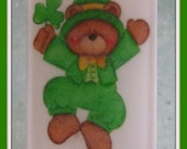 ST PATRiCKS DAY Soap * 4 Leaf Clover Scented * Unique Cute Teddy Bear Home Decor Gift * Vegan Friendly * Handmade USA * Limited Edition