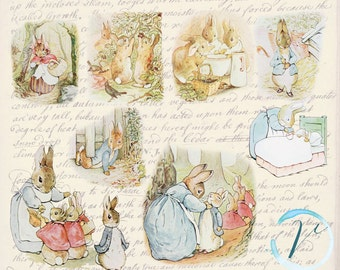 Vintage Clipart Beatrix Potter Peter Rabbit high resolution  Digital Clip Art Set: Commercial and Personal Use.