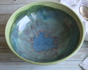 Green and Blue Serving Bowl Wheel Thrown Stoneware Bowl Made in USA Ready to Ship