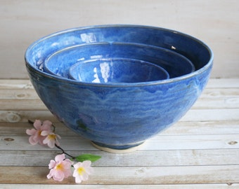 Extra Large Nesting Set Rustic Handmade Ceramic Blue Pottery Bowls Four Piece Stoneware Stacking Bowls Ready to Ship Made in USA
