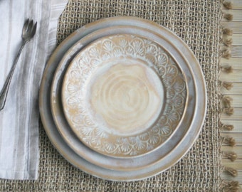 Rustic Three Piece Place Setting White and Ocher Dinner Plates Handcrafted Stoneware Dinnerware Three Dishes Ready to Ship Made in USA