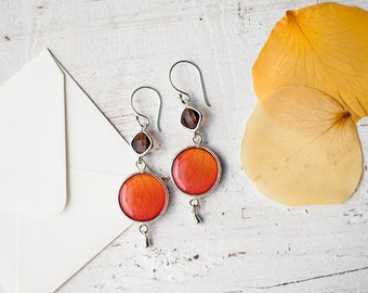 Orange Rose & Smoky quartz dangle earrings - Orange earrings - Orange dangle earrings - Orange long earrings - Flower Earrings (E150)