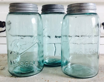 Vintage Trio of Blue Ball Canning Jars