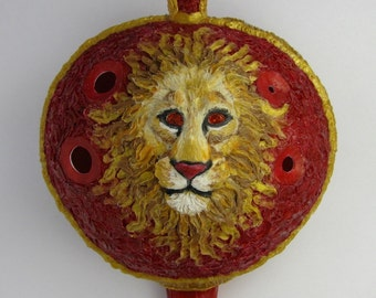 Lion orange cubic zirconia 3Doodled plastic english pendant ocarina DTPD