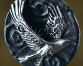 Spirit Hawk Fantasy Pendant with Tube Bail in Sterling Silver