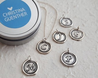 Initial Seal Pendant Necklace - Personalized Jewelry - Christina Guenther