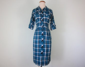 60s turquoise plaid cotton wiggle fitted dress (xs - s)