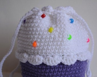 Purple Sprinkled Cupcake Purse