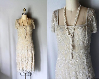 vintage 1920s style GREAT GATSBY beaded flapper dress