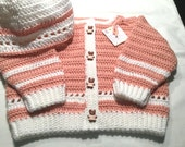 Baby Girl Crocheted Sweater and Hat Set with Teddy Bear Buttons