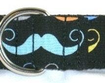 1 inch mustache greyhound martingale dog collar, Movember awareness, black, colorful, facial hair, handlebar--Mustache-Black