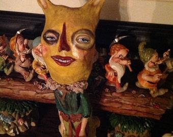 Unique paper mache doll bird lady folk art doll