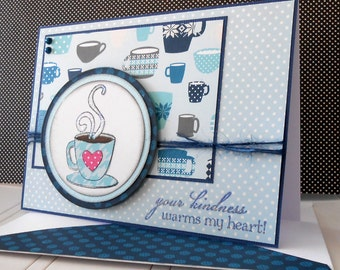 Thank You Card with Matching Embellished Envelope - Coffee Break