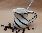 Potery Mug, Black and White Swirl, Handmade Ceramic Cup, Coffee Cup, Tea Mug, Hot Chocolate Cup, Hand Turned On Potters Wheel