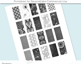 Black and White Dark Grey Patterns 1x2 Domino Collage Sheet Digital Images for Domino Pendants Magnets Scrapbooking Journaling JPG