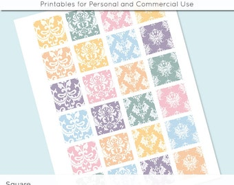 Damask Pastel 1x1 Inch Squares and 1.5 Inch Squares Digital Collage Sheet for Glass Resin Pendants Charms JPG Q0035 S0035 1 Inch