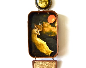 Mixed media hanging Altoid tin shadow box shrine - What To Do On a Starless Night.