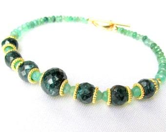 Faceted Emerald  & 14k Gold Bracelet - Genuine Gemstones HANDMADE Jewelry