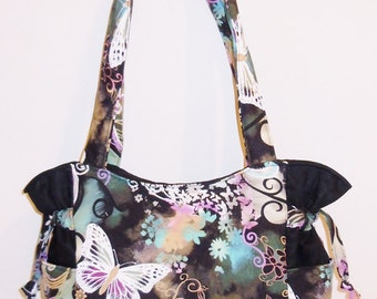 Butterfly Filigree Black - Handbag, Purse, Tote, Shoulder Bag, Outside Pockets
