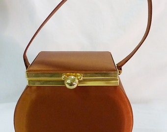 Vintage carla marchi satin hand bag purse and satin lining mirror inside 1970s