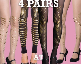Sale! Save 20% off on 4 pairs of your choice sheer and opaque tights available in S-M L-XL
