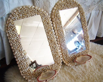 Vintage Pair Seashell Wall Mirrors with Spiny Oyster