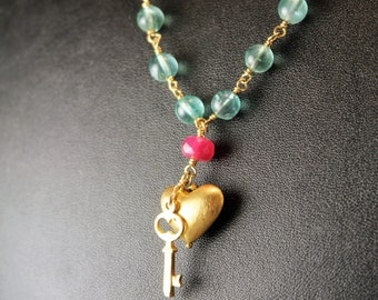 The Coppelia Apatite, Pink Ruby and Brushed Vermeil Heart and Key Necklace - Gold Filled Chain, Vermeil Lobster Clasp