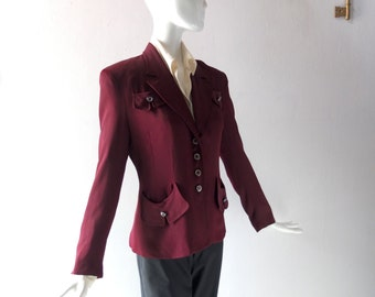 Vintage ANNA SUI Burgundy Rayon Cavalry Twill Blazer - 80s Does 1940s Military Style - sz 8 - Classic Colorful 4 Button w/ Droop Pockets